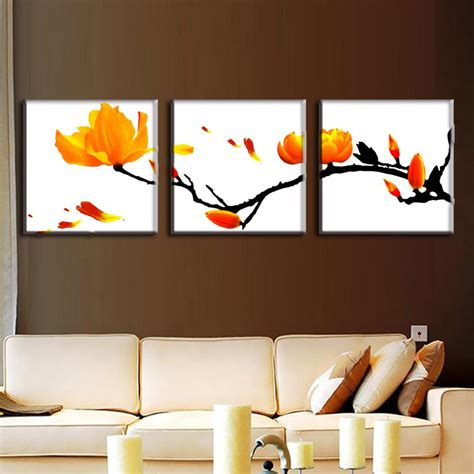 painting on wall 3 pcs set modern wall paintings framed flower oil painting