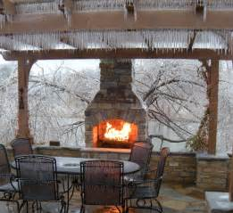 to this fireplace in winter outdoor living