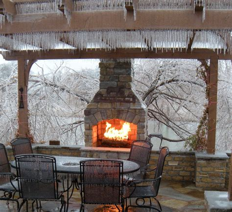 Drawn To This Fireplace In Winter Outdoor Living Outdoor Fireplace Decor