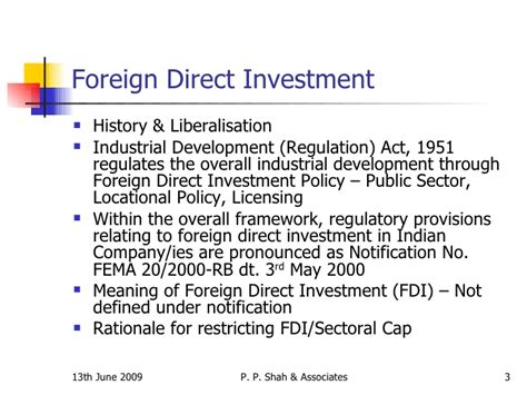 Foreign Direct Investment Mba Notes by Bcas Study Course On Fema Sector Specific Fdi Real