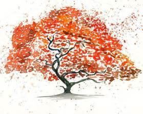 japanese maple tree landscape painting watercolor orange