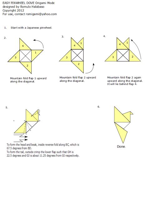 Origami Dove Step By Step - turning a japanese pinwheel into a bird romi s origami
