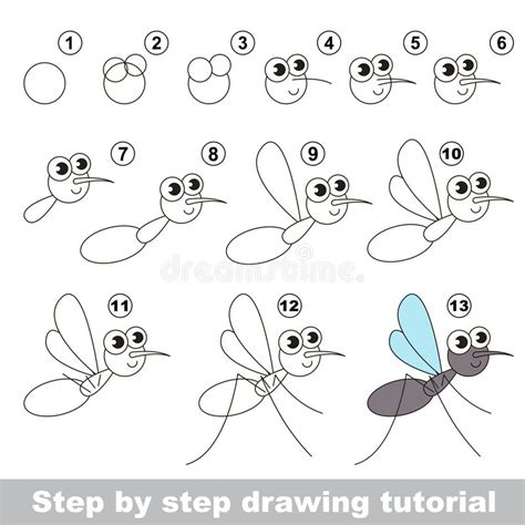 tutorial vector simple drawing tutorial the mosquito stock vector