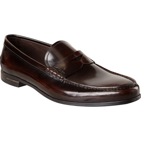 prada loafers prada butted seam beefroll loafer in brown for