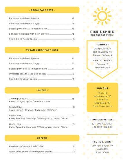 canva menu customize 238 breakfast menu templates online canva