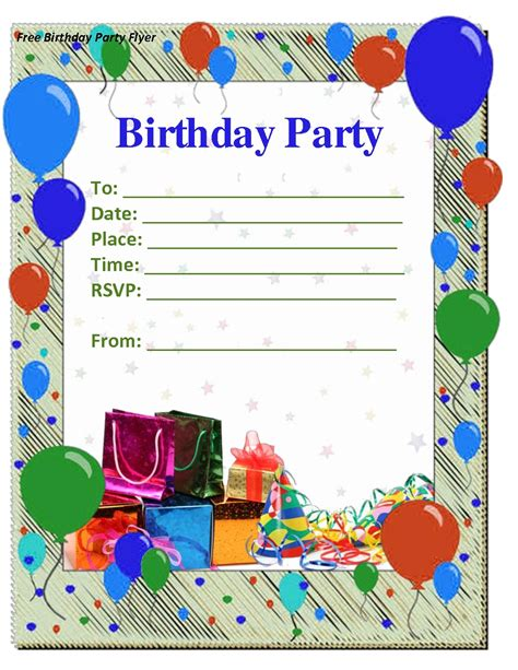 birthday card invitation template for a 50 free birthday invitation templates you will
