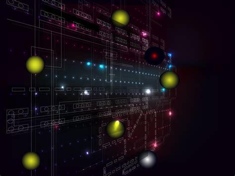 Digital Tech Ppt Backgrounds 3d Black Blue Colors Purple Technical Data Info Powerpoint
