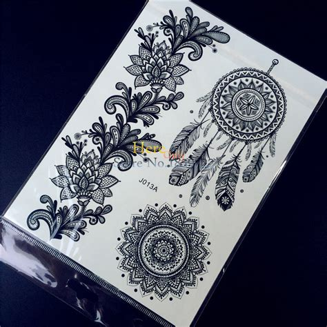 tattoo henna sticker 1pc fashion large indian mehndi black henna temporary