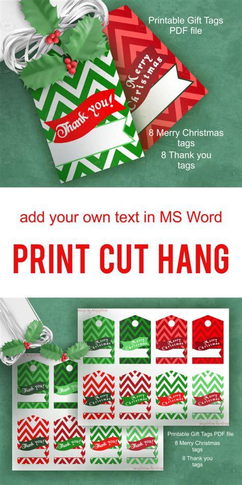 printable christmas tags edit merry christmas thank you chevron hang gift tag text over