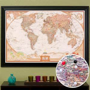 Framed World Map With Pins by World Travel Map With Pins And Frame By Pushpintravelmaps