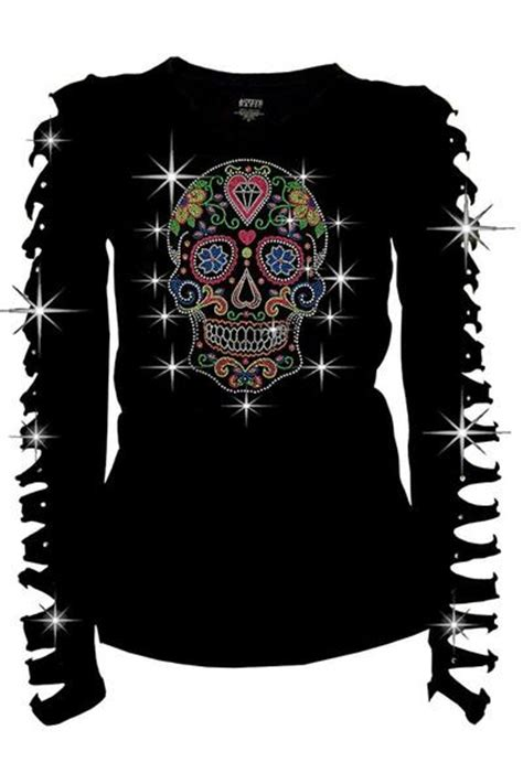 Sale Blouse Import 9254 Small Skull M L bling sugar skull rhinestone t shirt pluto99