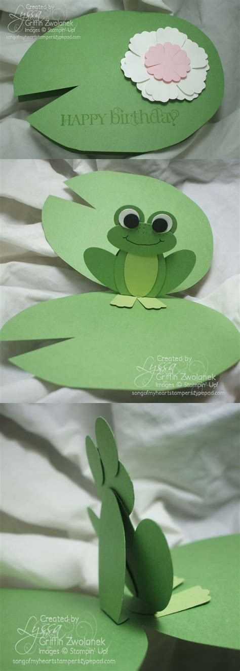 frog pop up card template lilypad pop up frog card cards crafts and card ideas