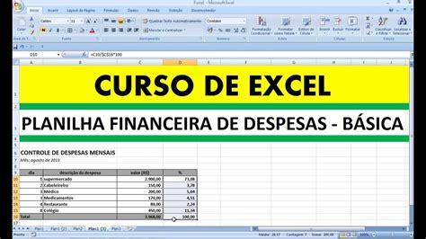 curso de excel planilha financeira de despesas basicas