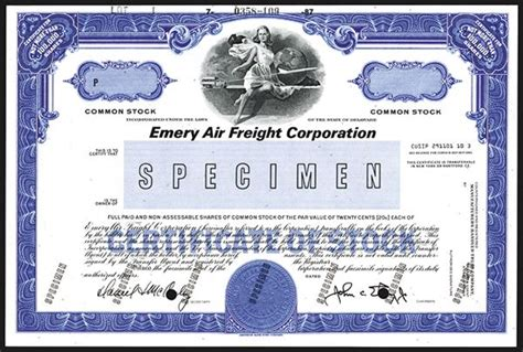 emery air freight corp ca 1970 s specimen stock certificate
