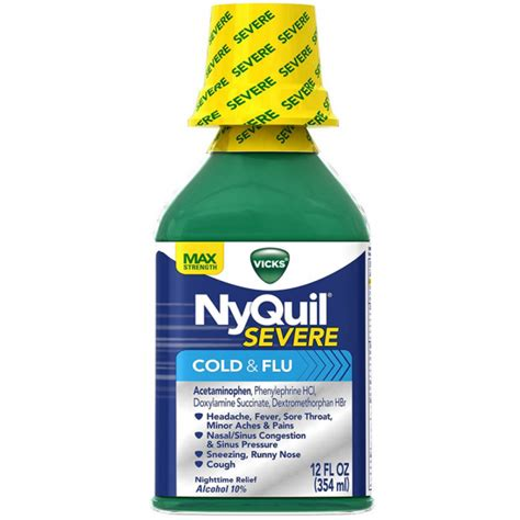Nyquil Cold Flu Nighttime Relief Liquid vicks nyquil severe nighttime cold flu relief liquid 12