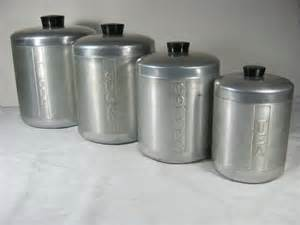 Retro Kitchen Canisters Set by Vintage Aluminum Canisters Retro 50s Canister Set 4