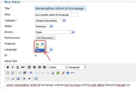 tutorial desain web dengan joomla cara menilkan artikel di home halaman utama pada joomla