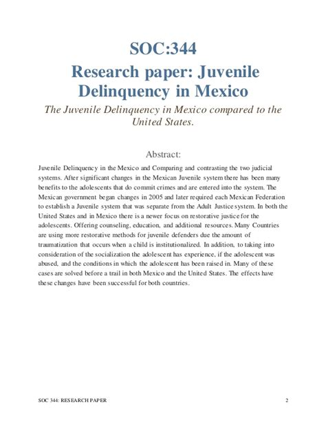 research papers on juvenile delinquency phd thesis juvenile delinquency