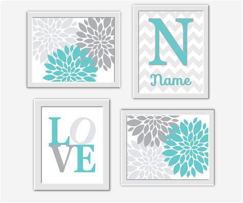 teal wall decor teal baby nursery wall turquoise gray by