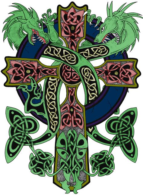 celtic cross with dragon tattoo designs by ted joyner