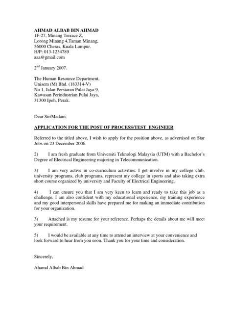 contoh cover letter resume for fresh graduate contoh cover letter n resume telecommunication
