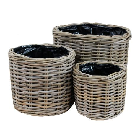 grey buff rattan wicker planter