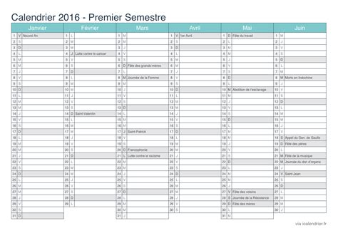 Calendrier 6 Mois 2016 F 234 Tes Civiles En Calendriers Et Dates