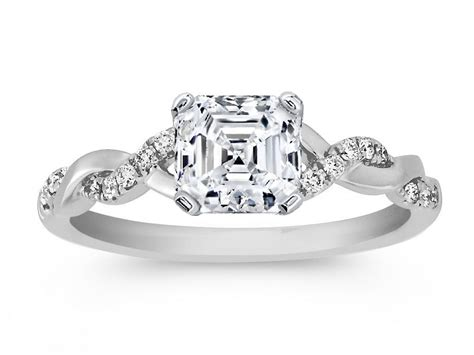engagement ring asscher cut twisted pave