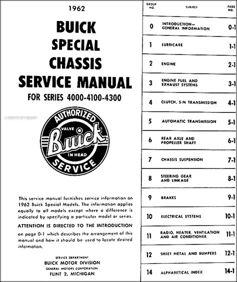 1962 buick special and skylark repair shop manual original