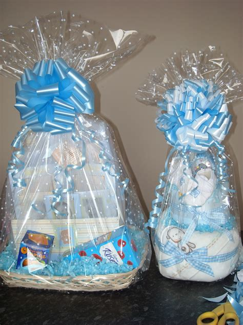 Ideas For Wrapping Baby Shower Gifts by Clear Cellophane With A White Dot For A Baby Shower Gift