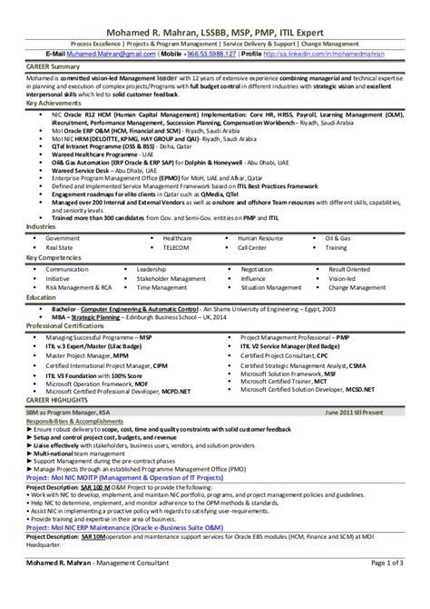 Itil Expert Sle Resume by Mohamed R Mahran Resume