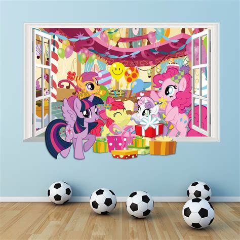 my little pony home decor new 3 colors 3d diy fake window wall stickers my little