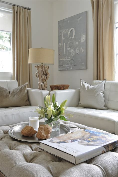 decorative ottomans living room layered neutrals erica cook moth design living spaces