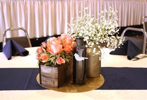 navy and coral wedding centerpieces wedding planning for a navy coral and gold wedding