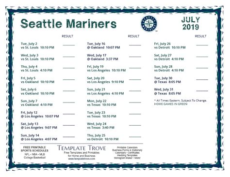 printable  seattle mariners schedule