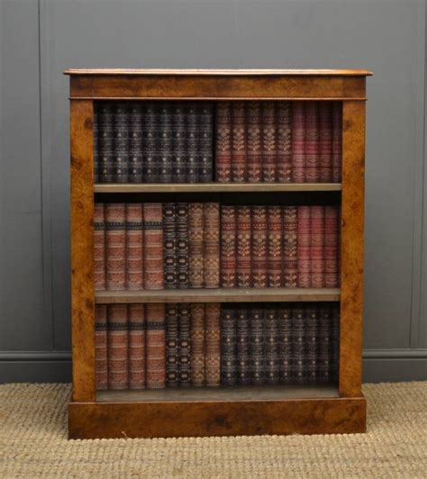 spectacular burr pollard oak antique open bookcase