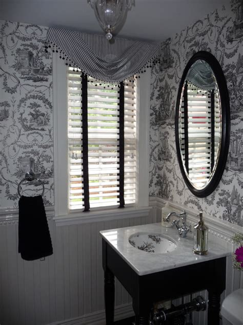 window decor powder room powder room with black and white toile wallpaper