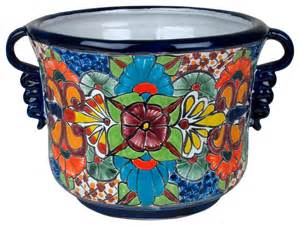 talavera ceramic squash flower pot with handles