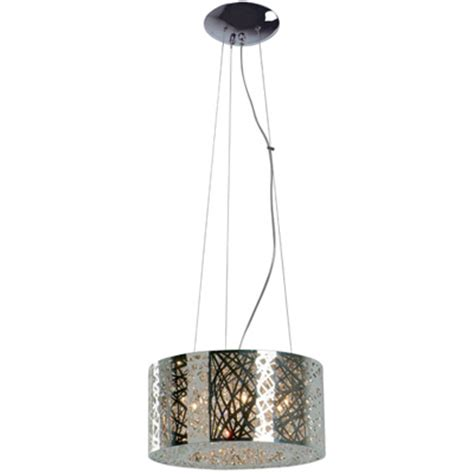 Inca Pendant Light Inca Collection 7 Light 15 Quot Polished Chrome Hanging Pendant With Steel Web Shade And
