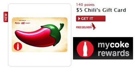 Chili S Restaurant Gift Card Balance - my coke rewards 5 chili s gift card