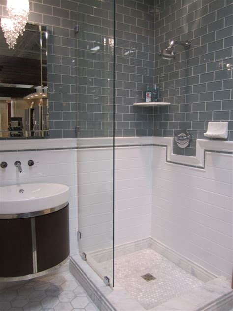 glass subway tile bathroom ideas gray subway tile bathroom design ideas