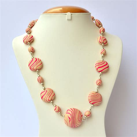 Handmade Necklace - handmade necklace with flat pink