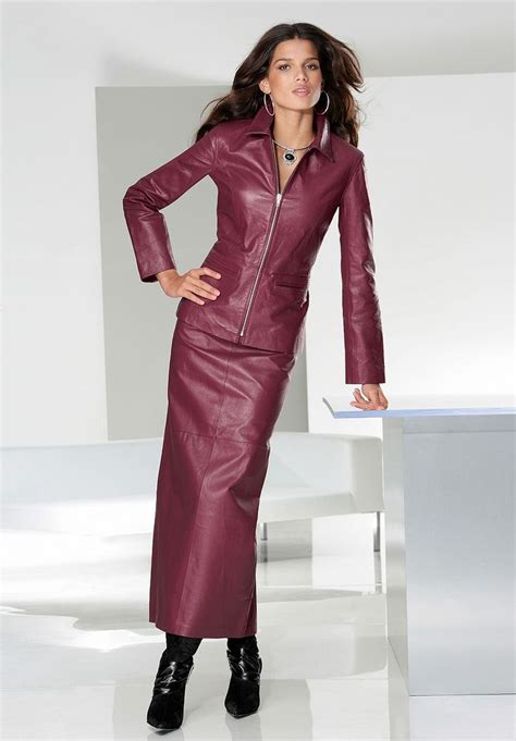 maroon leather jacket and leather maxi skirt ensemble