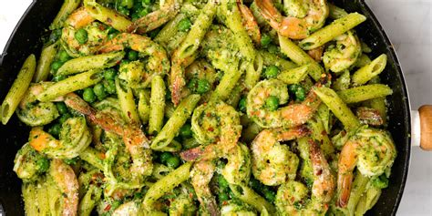 best pesto pasta recipe best spinach pesto penne with shrimp and peas recipe how