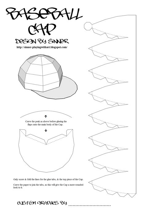 baseball pattern template paper baseball cap by sinner pwa on deviantart