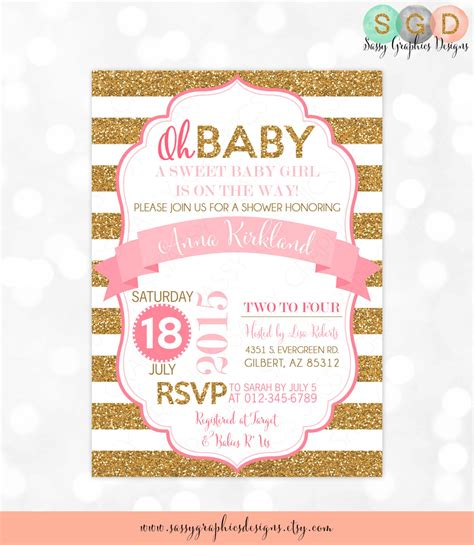 pink and gold baby shower invitation pink and gold baby shower invitation baby shower invite