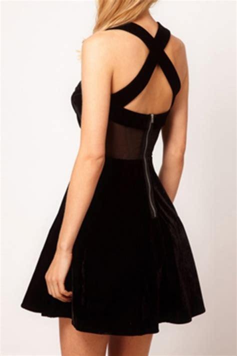 Velvet Gauze Dress L 30772 cross back velvet gauze dress in black fxbi00505