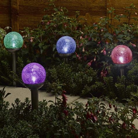 Solar Garden Lights Sale Smart Garden Solar Rainbow Crackle Globe Light 4 Pack On Sale