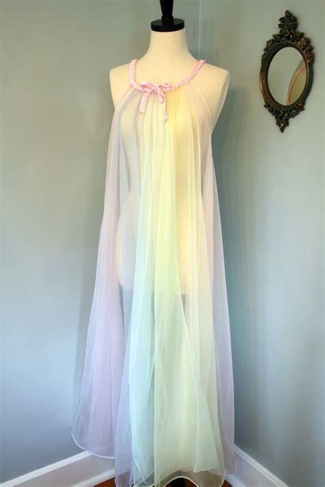 chiffon nightgown  size negligee rainbow pastel pink