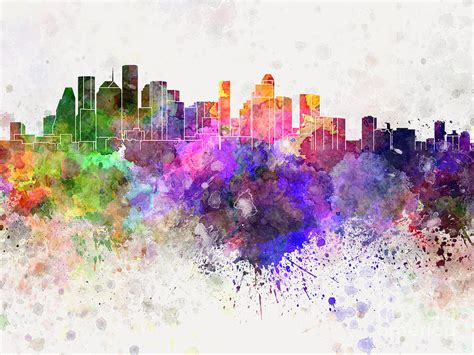 Home Decor Dallas Texas by Houston Skyline In Watercolor Background Painting By Pablo